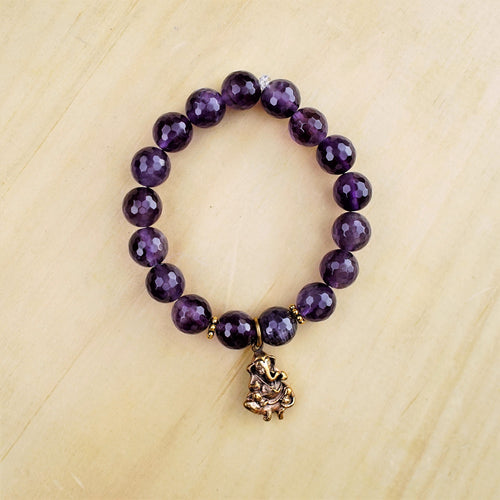 Amethyst & Ganesh Bracelet - Intuition & Protection