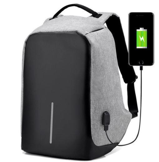 Anti-Theft Backpack with USB Charging Port - Grey