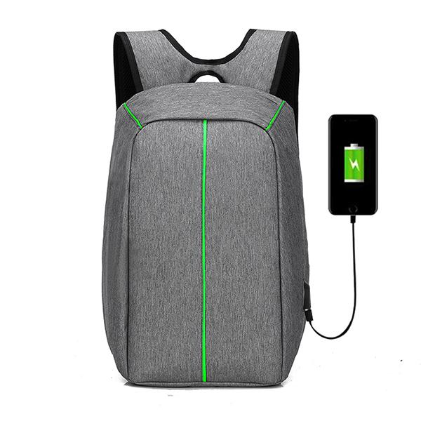 Anti-Theft Backpack with USB Charging Port - Grey Green