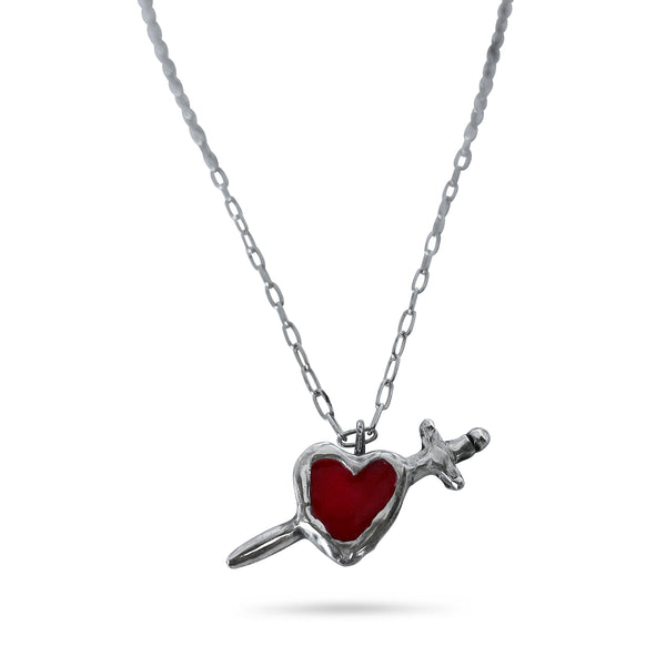 Heart & Dagger Necklace - Red