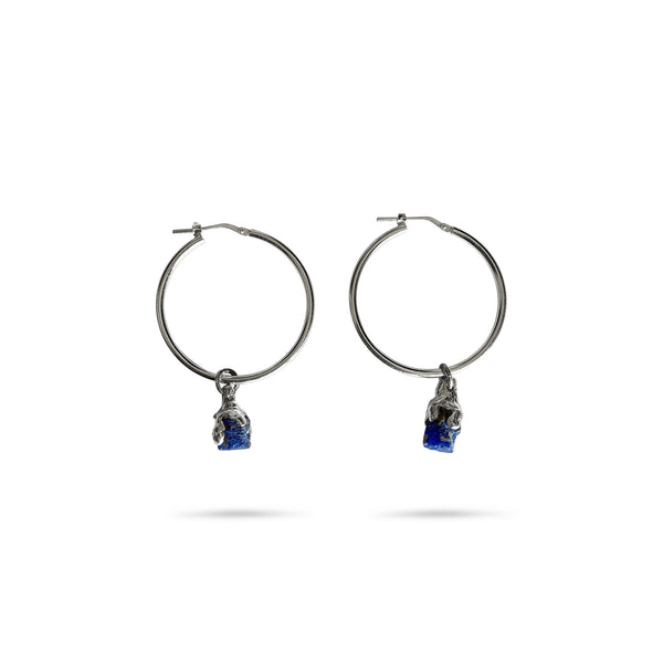 Big hoops with raw sapphires