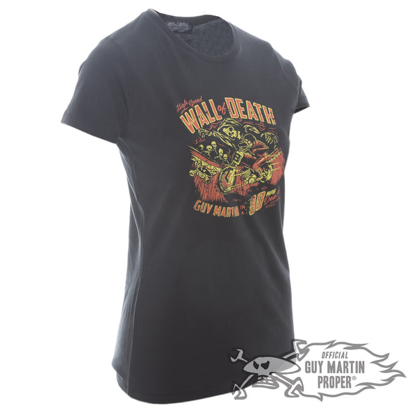 Guy Martin Ladies Wall of Death T Shirt Black or Grey