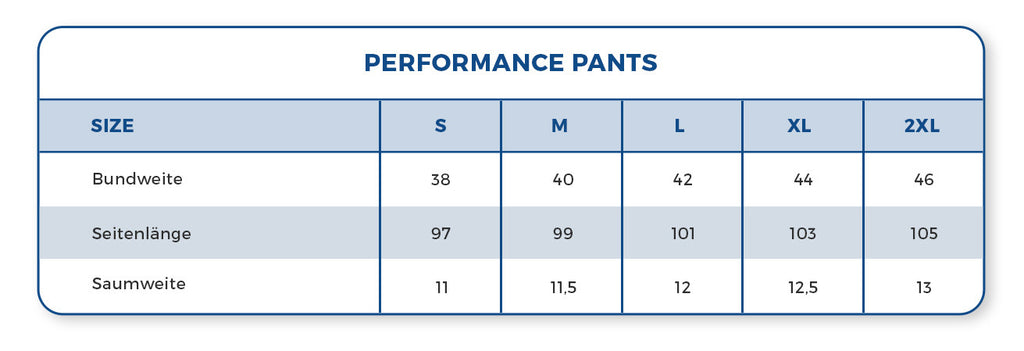 Rocka Nutrition Performance Pants Größentabelle