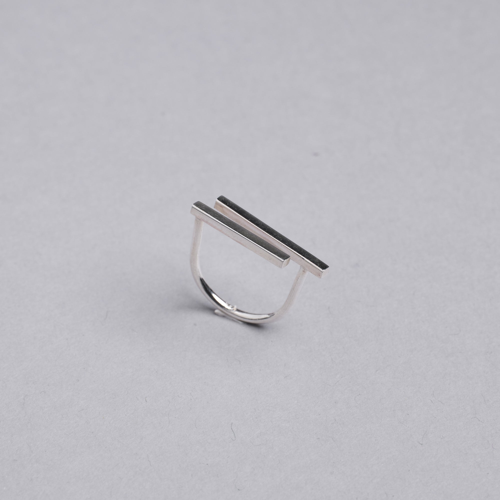 Silver Geometric Horizontal Bar Ring by Otis Jaxon