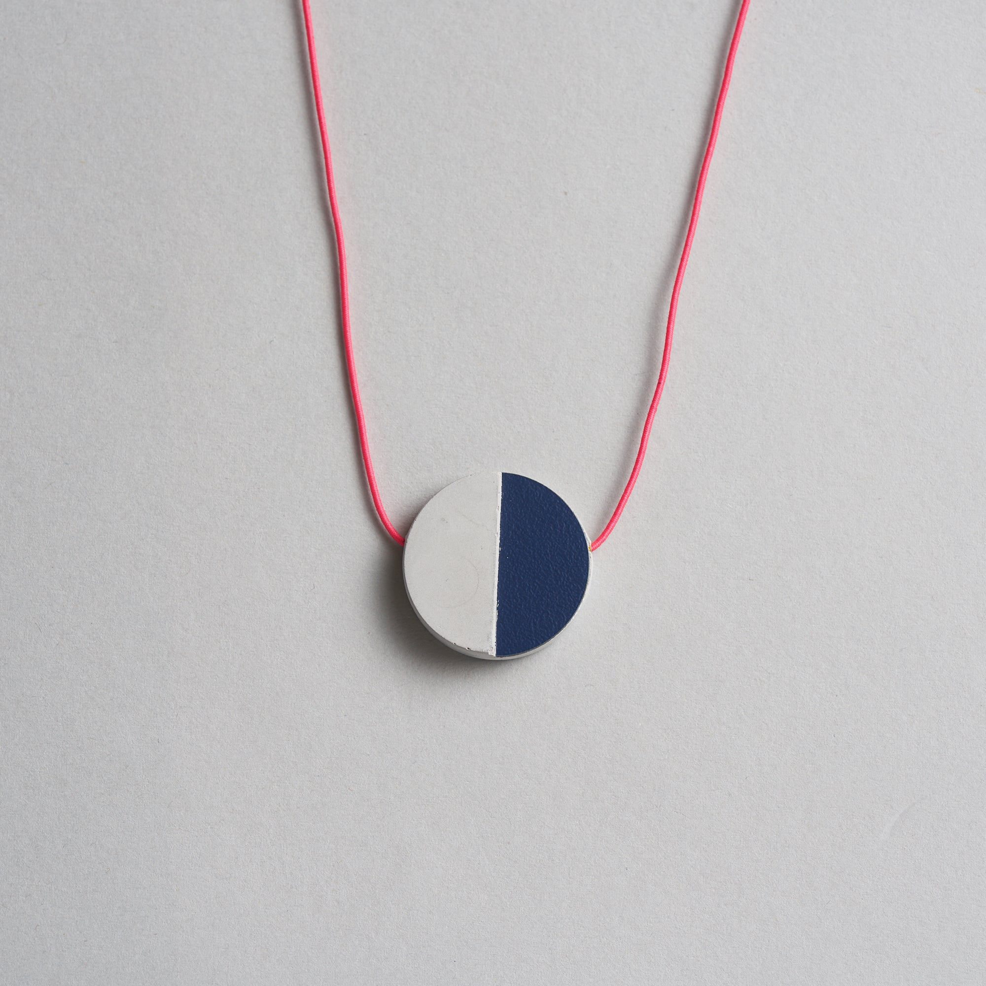 Concrete and Navy Disc Necklace by Block