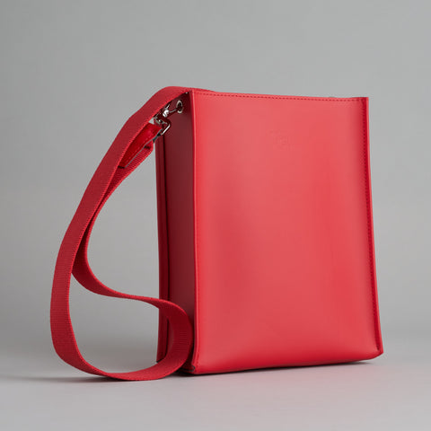 Red Leather Book Bag