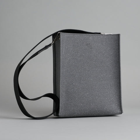 Grey Leather Book Bag