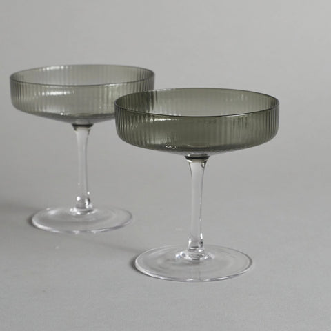 Smoke Ripple Champagne Glasses