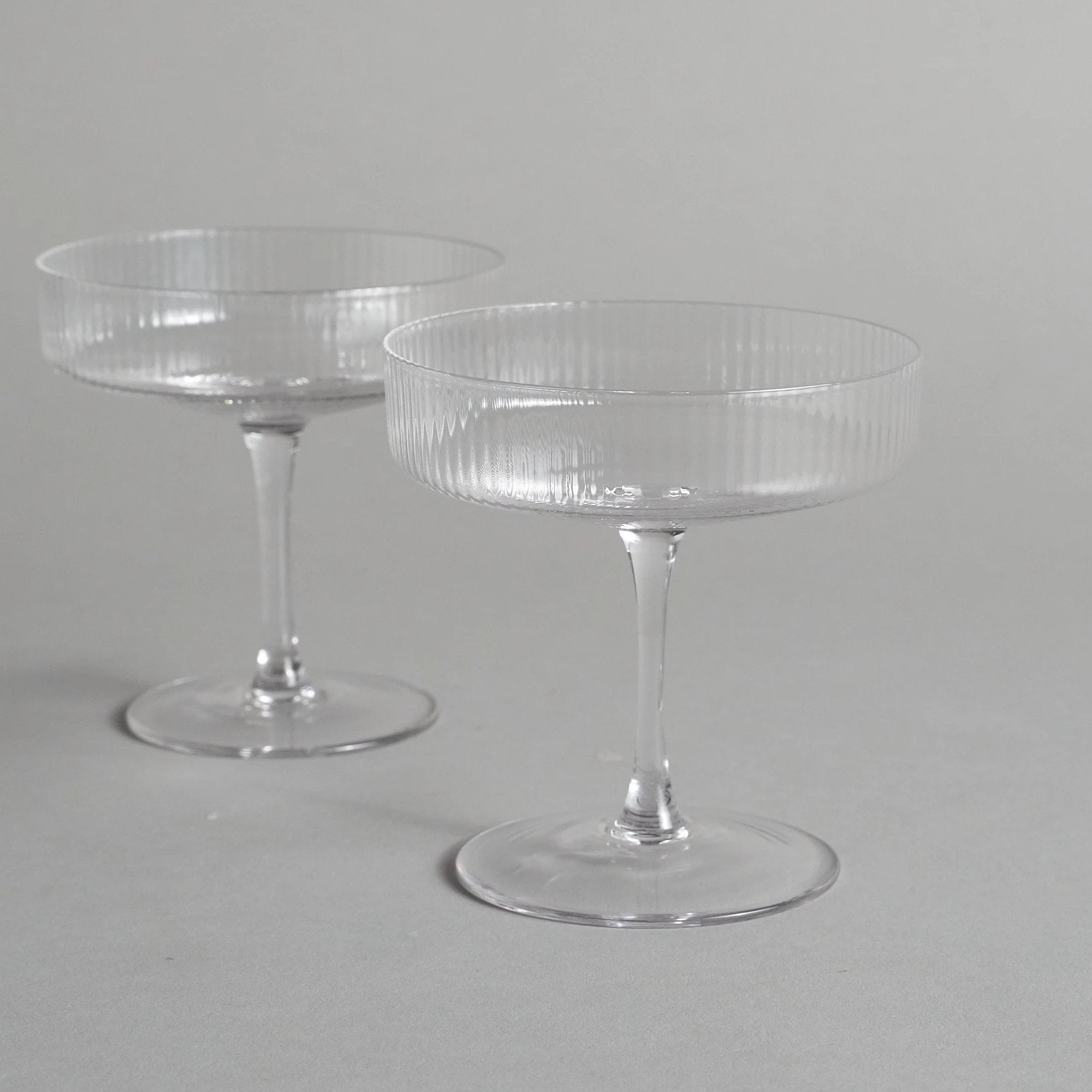 Clear Ripple Champagne Glasses