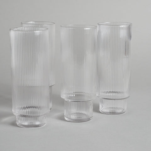 Clear Tall Ripple Glasses