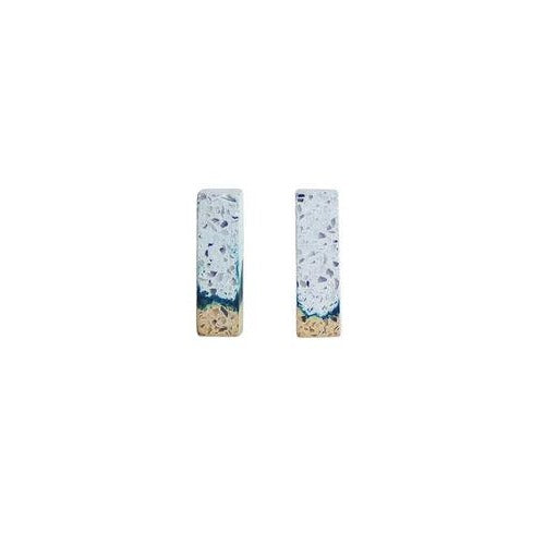 White and Teal Tine Studs by Promises Promises