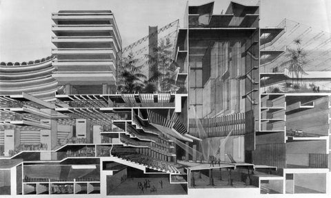 Barbican Cross Section Postcard