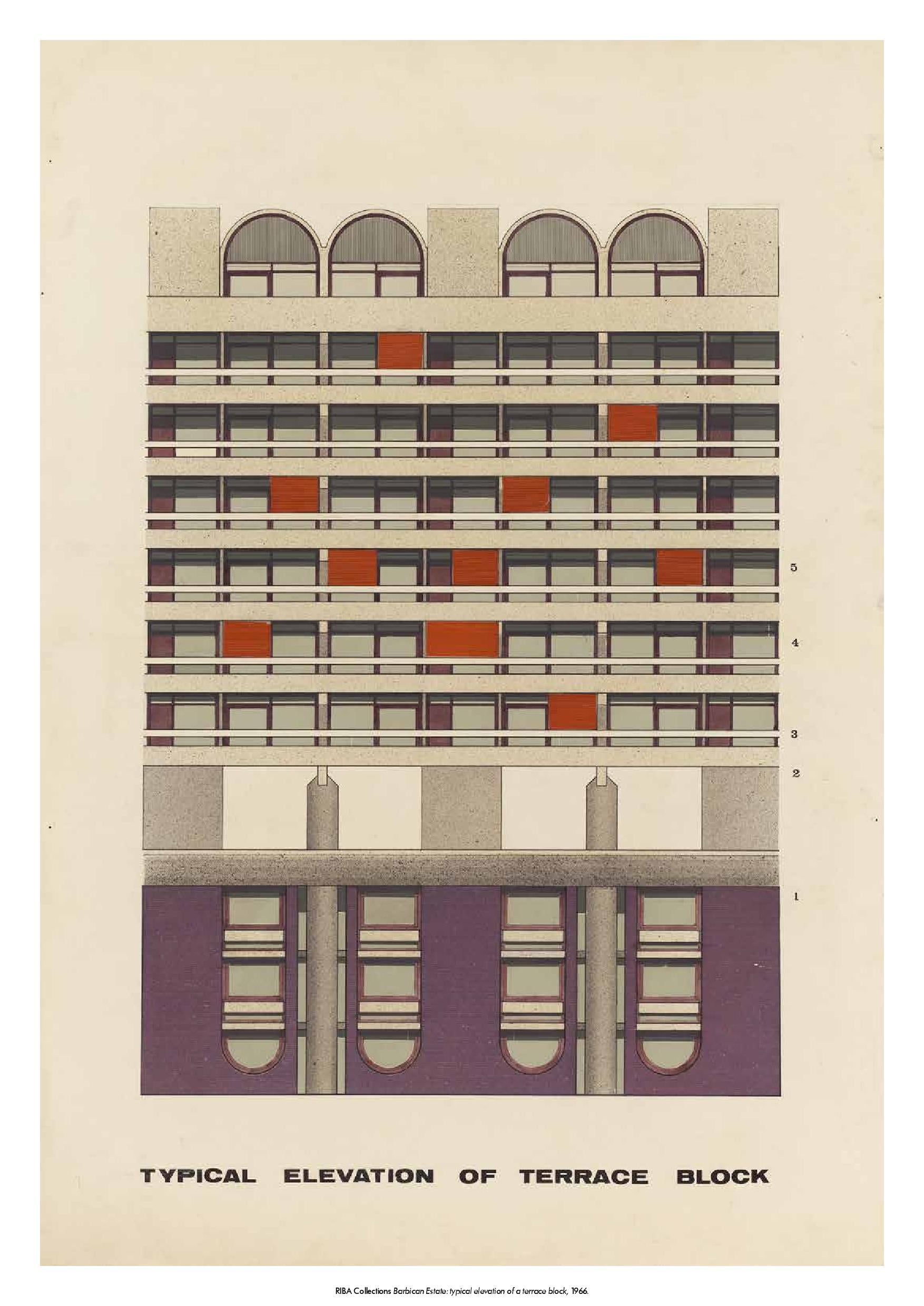 Elevation of a Terrace Block Print