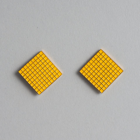 Yellow Grid Earrings by Tom Pigeon