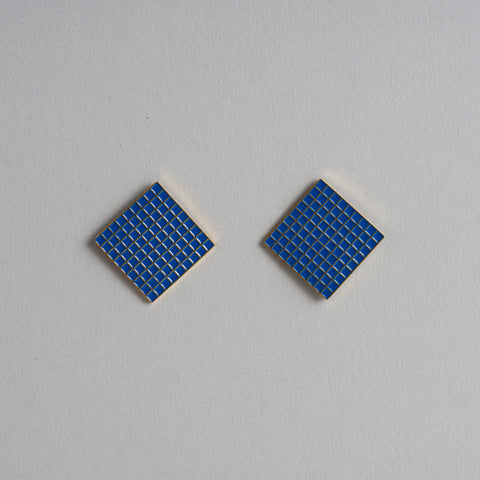 Blue Grid Earrings by Tom Pigeon
