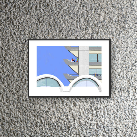 Barbican Estate Balcony Print by Hannah Jacobs