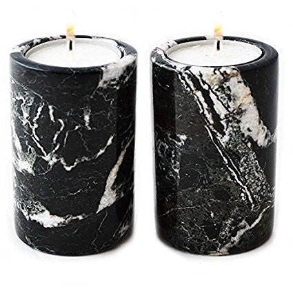 Set of 2 Cylinder Tea Light Candle Holders