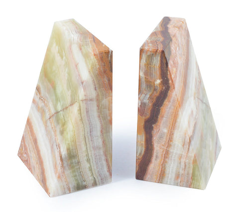 Onyx Marble Wedge Contemporary Bookends