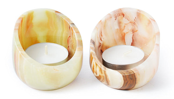 Set of 5 Onyx Eclipse Tea Light Candle Holders - Tea Lights Included!