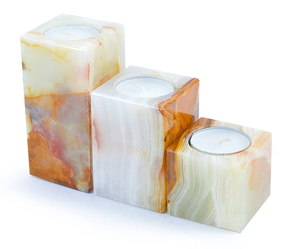 Set of 3 Tower Tea Light Candle Holders - Tea Lights Included!