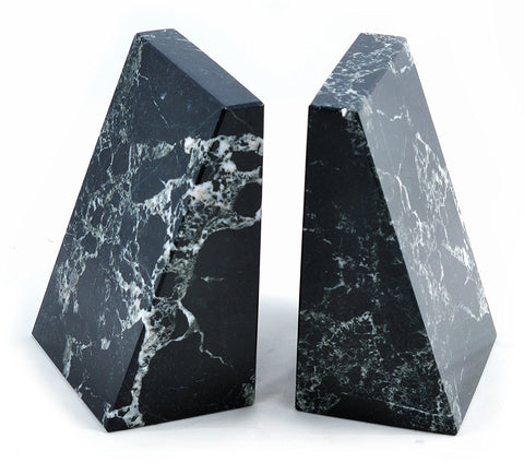 Black Marble Wedge Bookends