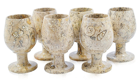 "Fossilstone 5"" Marble Goblets - Set of 6"
