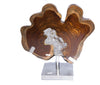 Teak disk with Rockcrystal on pedistal stand - Natural History Direct Online Shop
