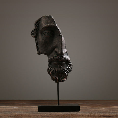 rustic sculpture of greek world half face resin handicrafts home decor 46cm