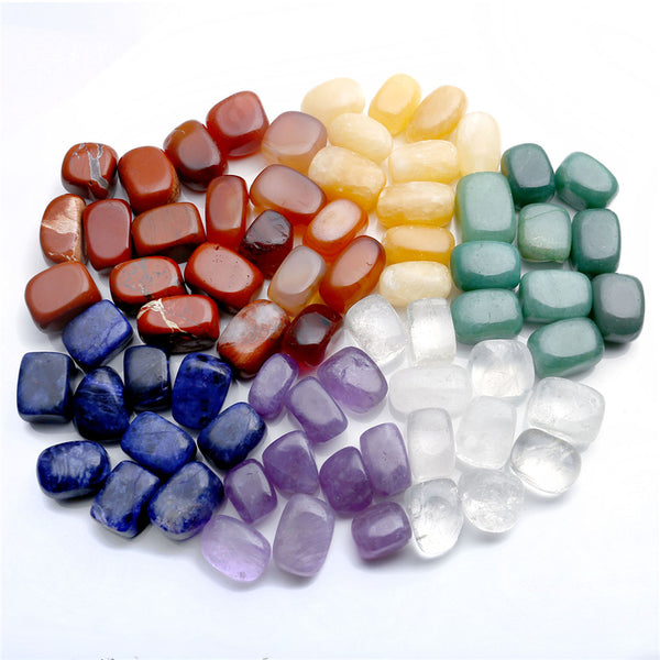 Set of 7 Chakras Crystal Healing Tumbled Natural Stones And Minerals 15mm-25mm With Gift Box