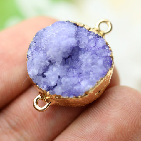 20*20mm Round Pendant Geode Purple Druzy Connector