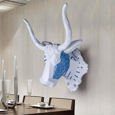 Wall mounted blue and white bull trophy - faux taxidermy