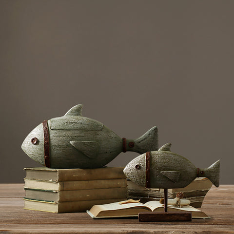 resin craft retro fish model creative hand made Nordic home decor -  2 sizes