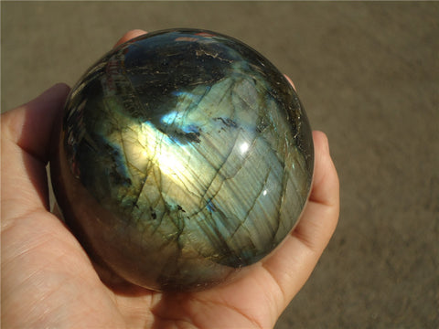 660g Madagascar NATURAL Labradorite sphere ball 75mm