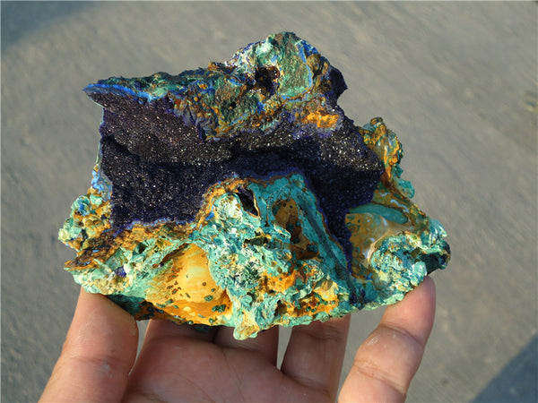 415G Rare Royal Blue Azurite Geode w/Malachite Balls group on copper
