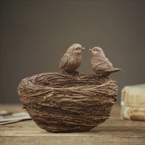 resin love birds nest creative family home furnishing decoration