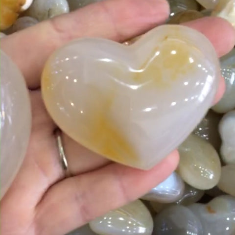 45-50mm Heart shaped Madagascar Marine agate