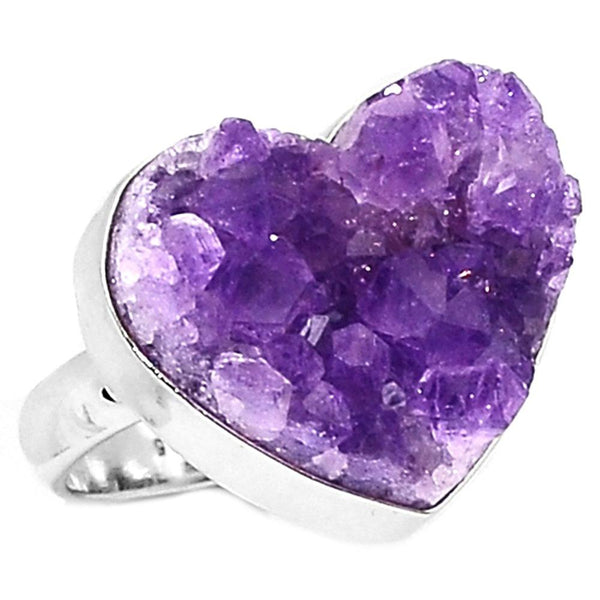 Amethyst Drusy Ring 925 Sterling Silver, Size : 7.25