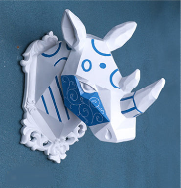 Wall mounted blue and white rhinoceros trophy - faux taxidermy