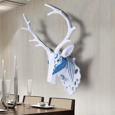 Wall mounted blue and white stag trophy - faux taxidermy