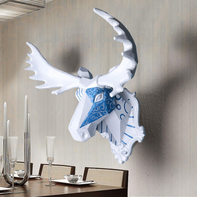 Wall mounted blue and white moose trophy - faux taxidermy