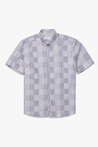 Woodbird Kine Block Stripe Shirt Shirts White-Grey
