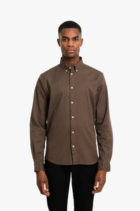 Woodbird Trime L/S Shirt Shirts Brown