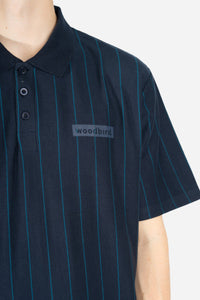 Woodbird Tapa Stripe Polo T-Shirts Navy-Teal