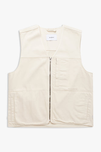 Woodbird Zlick Twill Vest Jackets Off White