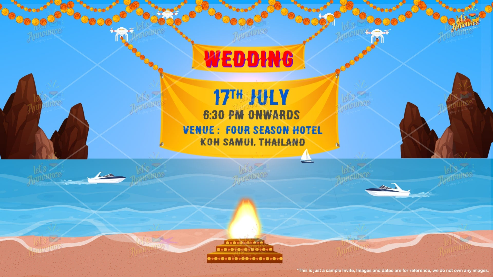Amazing Beach Wedding Invite-61 sec (USD 100$)