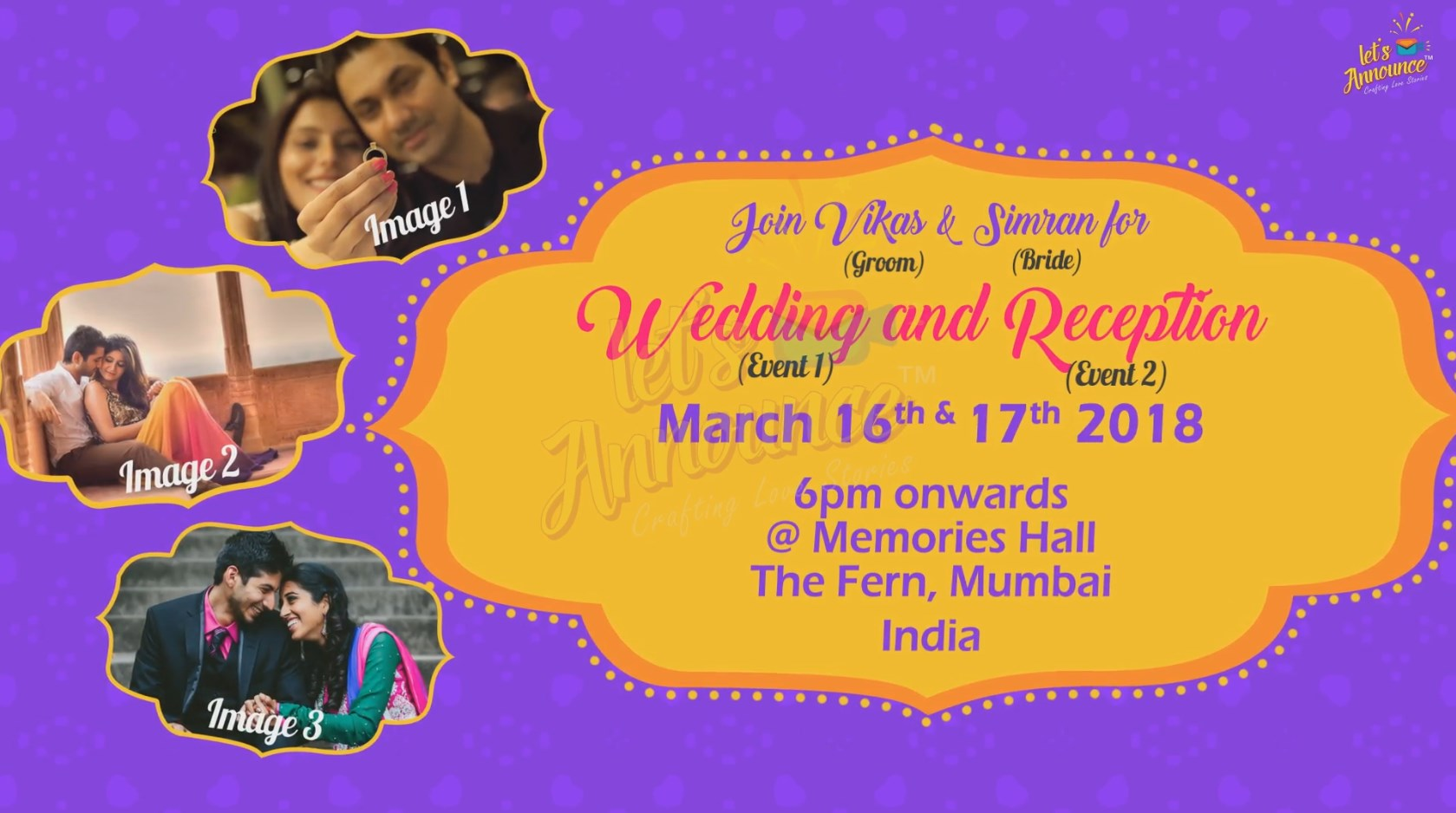 Indian Wedding and Sangeet Invitation-44 sec(USD 85$)