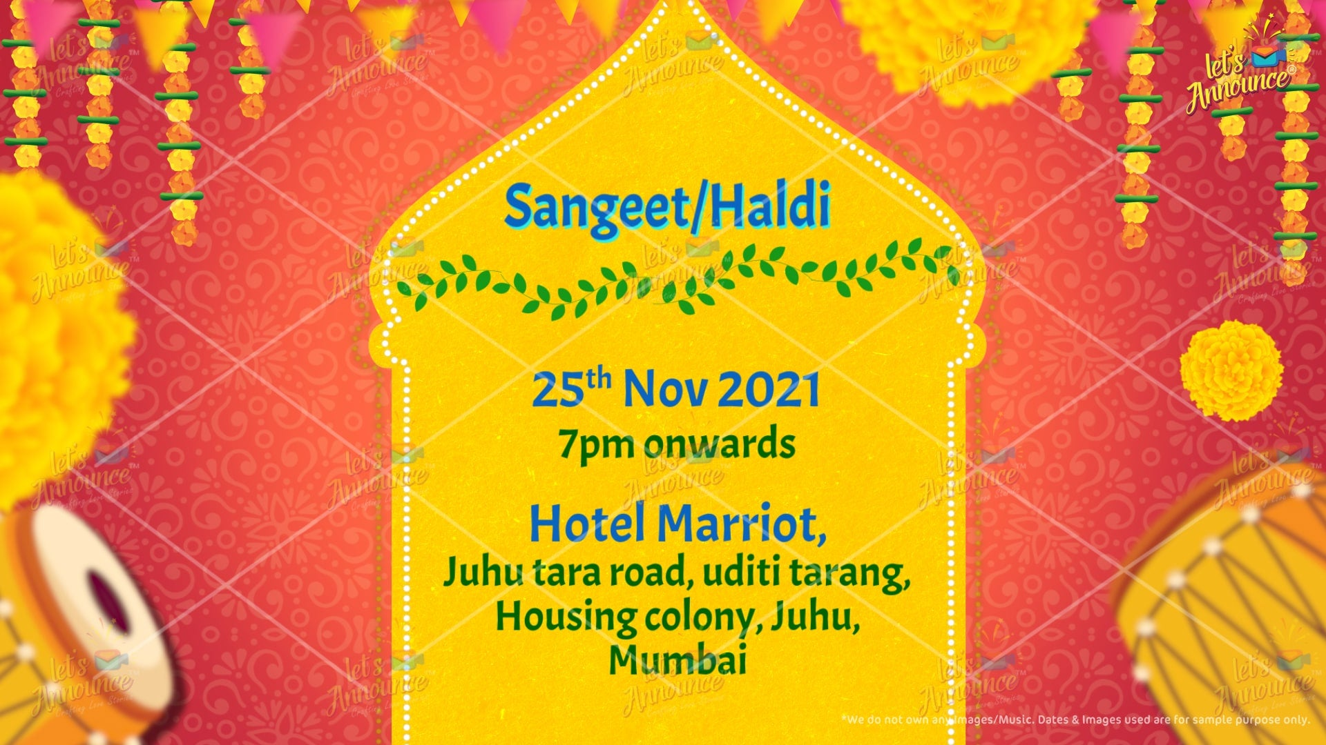 Sangeet Invitation by www.letsannounc.com