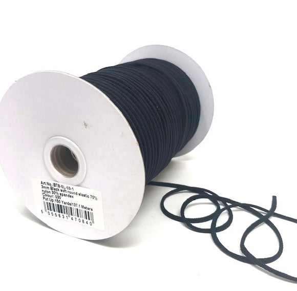 3mm Black soft round elastic