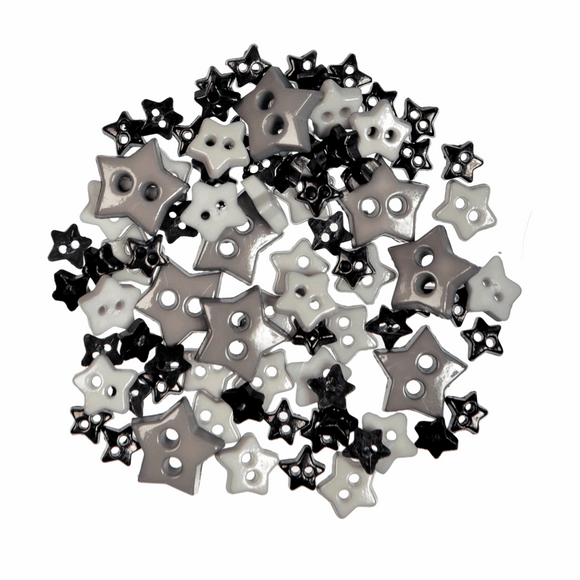 Trimits Mini Craft Buttons - Stars - Black & Grey