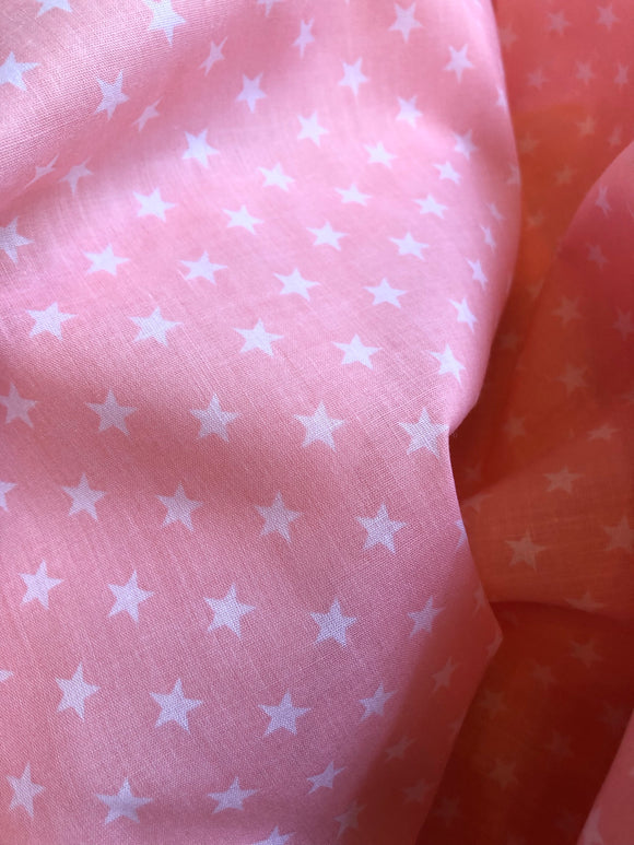 White Stars on Light Pink
